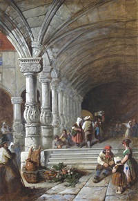middle eastern scenes with figures beneath arches (pair) by j. hardy