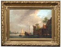 holländische kanallandschaft mit befestigter stadt by pieter jan van liender