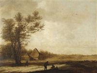 weite landschaft mit bauernhaus und rastenden bauern by anthony jansz van der croos
