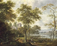 a wooded river landscape with a hunter on a track, a villa and mountains beyond by frederick de moucheron