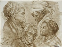 study of four faces by charles wilbert white