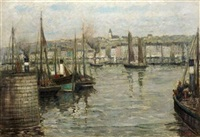fishing boats in a harbor by henry golden dearth