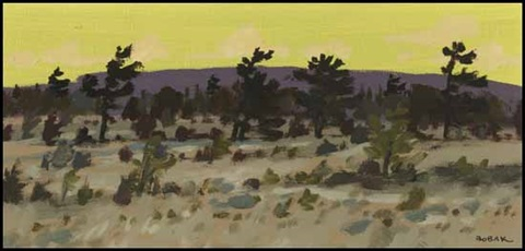 pines against a lemon sky by bruno joseph bobak