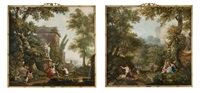 female figures and children frolicking and resting by antique ruins in a forest; nymphs resting beside water in a lush forest, a stag in the distance (pair) by jurriaan andriessen