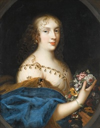 portrait of a young lady holding a bunch of flowers (anne-marie-louise d'orléans, duchesse de montpensier?) by louis ferdinand elle the elder