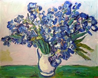 still life with blue orchids by gerhard batha
