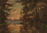 lake view with boaters at sunset by franz courtens