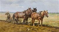 bauern mit pferden beim pflügen by marie guise newcomb