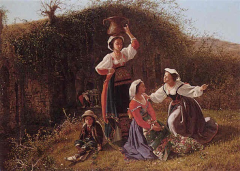 italian peasants by a well by j c ash
