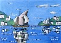 paesaggio con barche by ibrahaim kodra