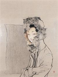 娟《狐之一》 镜心 设色纸本 (girl) by luo hanlei