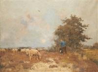 berger et son chien au coucher du soleil by louis albert roessingh