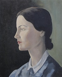 portrait of a young girl in profile, bust length, wearing a blue dress with a white collar, her hair tied back by jacob kramer