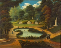 view of forest pond, mount auburn cemetery, cambridge, massachusetts by thomas chambers