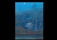 moon night (ryoanji temple) (+ cherry blossoms in omuro; 2 works) by akira muto