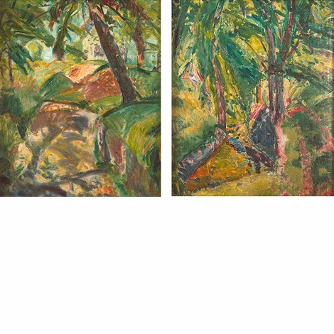 the house through the trees marlboro new york and forest interior a double sided work by alfred henry maurer