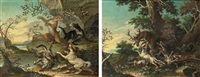 hounds fighting with a wild cat in a rocky river landscape (+ hounds attacking a deer in a wooded landscape; 2 works) by joseph stephan