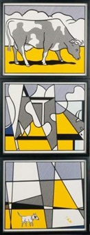 homage à roy lichtenstein-d'après cow going abstract (triptych) by aurèle