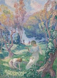 jeune fille au collier de fleurs by henri lebasque