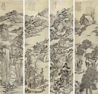 山水 (四幅) (in 4 parts) by dai xi