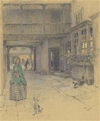 the courtyard at the red lion, banbury by cecil charles windsor aldin