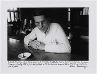 robert creeley one-eyed poet at naroka institute petes commune house, summer session july, he sat patient with me across supper table before his lecture, old friend by allen ginsberg