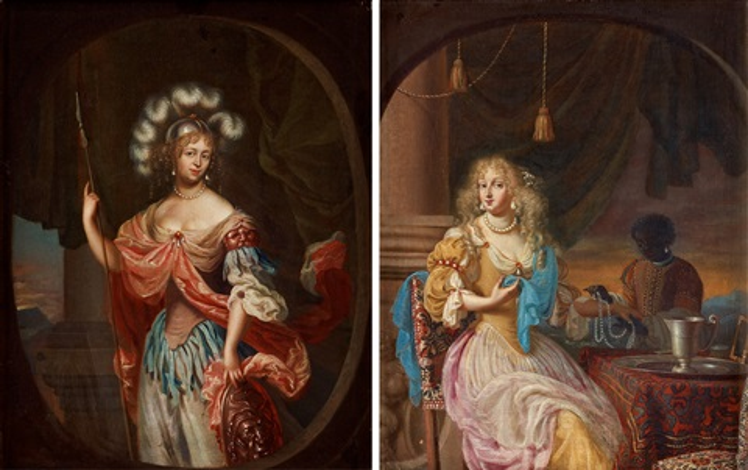 allegoriska scener med kvinnor bl a som minerva pair by simon pietersz verelst