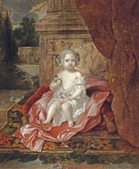 portrait of a boy, full-length, holding flowers in his right hand, sitting on a pink drape, beside a column by constantyn netscher
