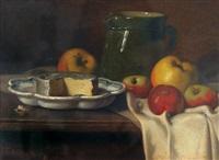 stillleben mit käse und äpfeln by antoine-ferdinand attendu