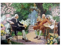 george washington and benjamin franklin in the garden by walter beach humphrey