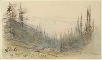 abetons - a view of mountains through trees by edward lear
