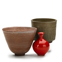 vessels: flaring bowl; straight-walled vessel; bottle-shaped vase (3 works) by laura andreson