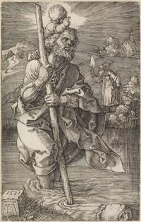 st. christophorus, nach rechts schauend by albrecht dürer