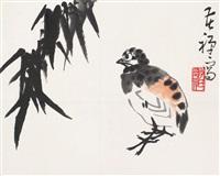 竹雀图 by li kuchan