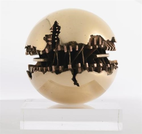 sfera in 2 parts by arnaldo pomodoro