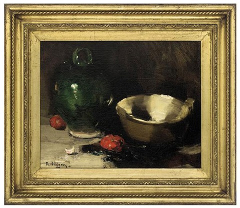 a carafe bowl and tomatoes on a table by raymond allègre