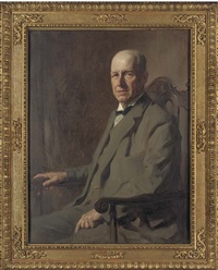 portrait of a gentleman, seated three-quarter-length, in a green suit by james bell anderson