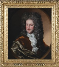 portrait of gentleman, bust length in silk robes and wig by french school (18)