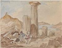 griechische küstenlandschaft mit ruinen und figurenstaffage by friedrich von gartner