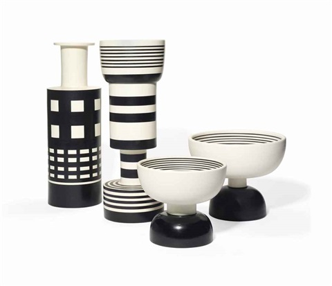 hollywood series vases (4 works) by ettore sottsass