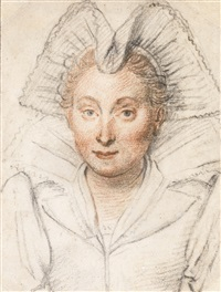 portrait of a lady, head and shoulders, wearing an elaborate head dress by federico zuccaro