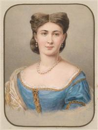 bildnis einer dame in blauem seidenkleid by emanuel thomas peter