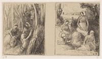bucheronnes. - groupe de paysannes (2 works) by camille pissarro