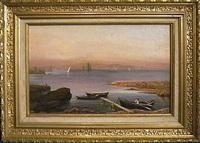 barques de pêcheurs sur les rives du lac by evert louis van muyden
