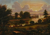 view of pope's creek plantation, birthplace of george washington, westmoreland county, virginia by thomas chambers