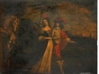 an elegant couple in a landscape by flemish school-antwerp (17)