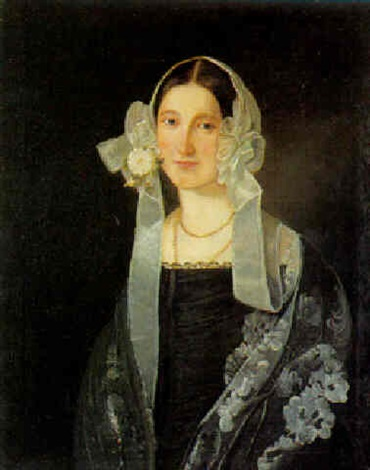 portræt af en dame i sort kjole med kyse med slojfer og bånd by morten thrane brünnich