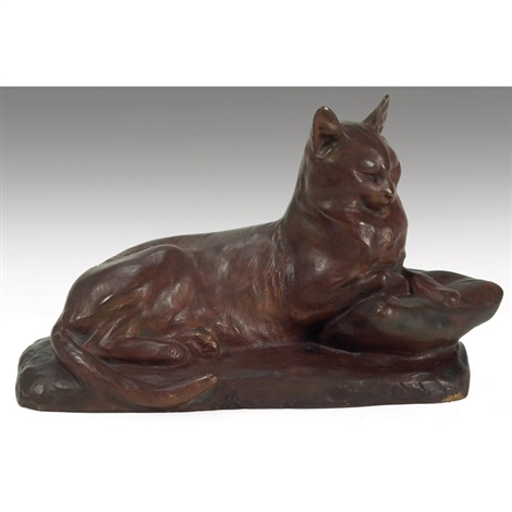 seated cat by louis riché