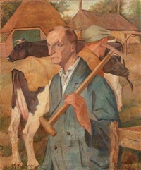 farmers and cows by johannis cornelis heeck