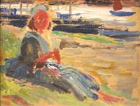 bretonne assise devant le port by auguste leroux